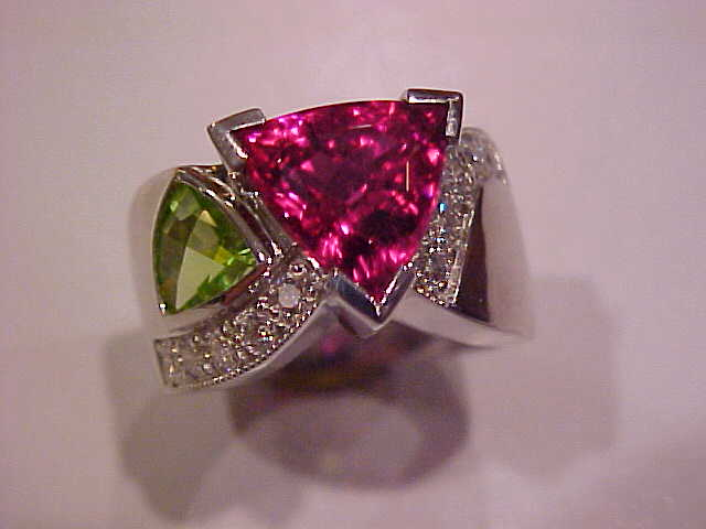 Nikki 18K Rings One of a kind precious colored stone and diamond
